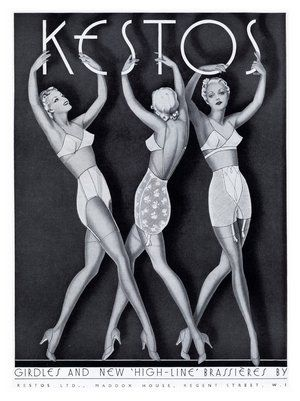 1930s Art Deco ads for Kestos women's lingerie