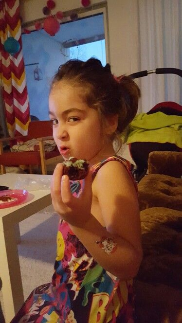 "Home made chocolate ""frozen cupcakes.  She was so proud but resistant to share this goody with you"
