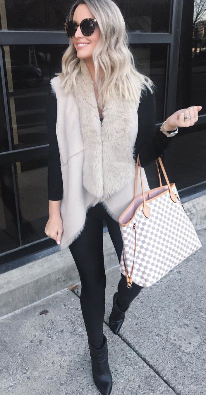 a41385a7bd  winter  outfits damier azur Louis Vuitton tote bag. Click To Shop This  Look.