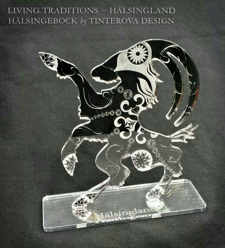 Billy goat /Hälsingebocken av Hälsingland i silver akryl: Design by Tinterova