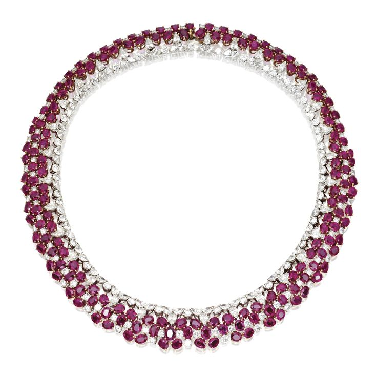 18 Karat Two-Color Gold, Ruby and Diamond Necklace…