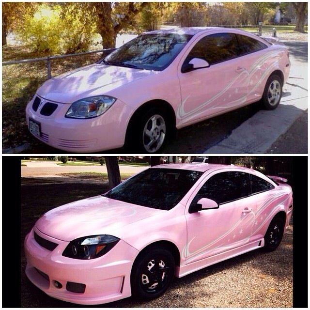 This is my car before & after body kit. :) pontiac g5 2008. Pink car ☺️