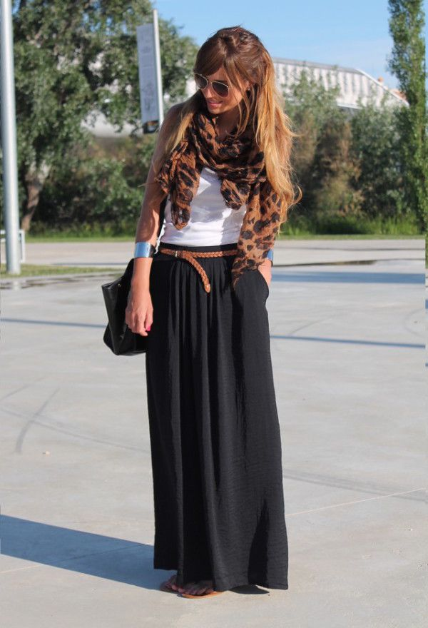 Black Maxi Skirt, White Tank & Leather & Print Accessories.
