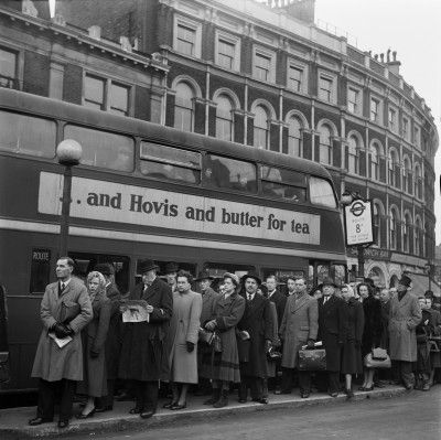 Bus Queue for Route 8, London, (1953) by Cas Oorthuys