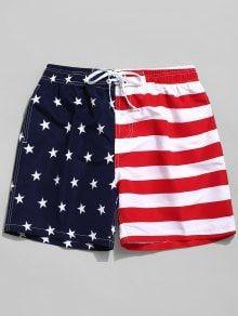 Shorts / Short Shorts Short Shorts RED Shorts /American Flag Print Casual Board Shorts