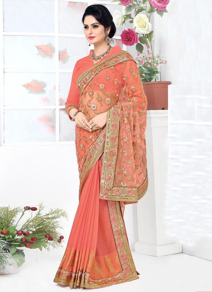 Monumental Banarasi Silk Orange Lehenga Saree