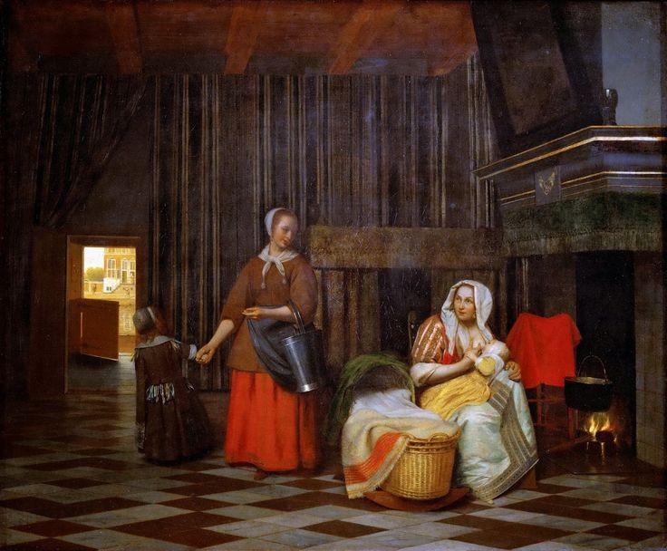 Pieter de Hooch - Woman and Child with Serving Maid [1663-65]  #17th #Classic #Painting #Pieter de #Hooch