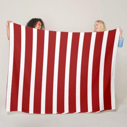 WIde stripes crimson red and white Fleece Blanket - chic design idea diy elegant beautiful stylish modern exclusive trendy
