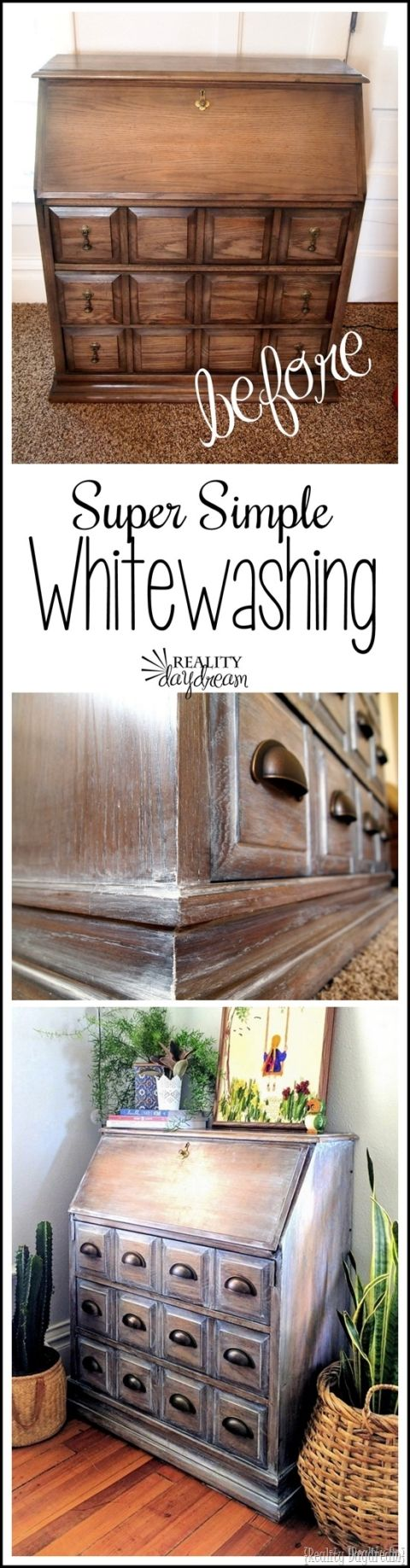 Simple WHITEWASHING technique for furniture! {Reality Daydream}