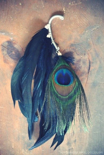 Peacock Gypsy Iridescent Feather Ear Cuff by francisfrank on Etsy, $26.00