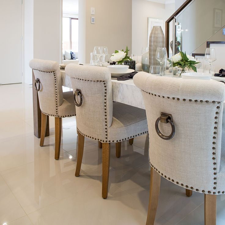 Classic dining room.  Polished porcelain gives a light and bright feel to this main living space.   #beauty #classicfeels