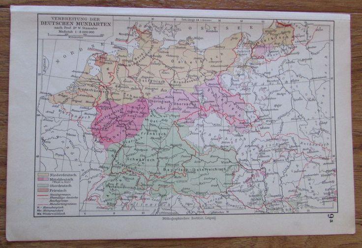 Verbreitung der deutschen Mundarten - alte Landkarte Karte old map 1928