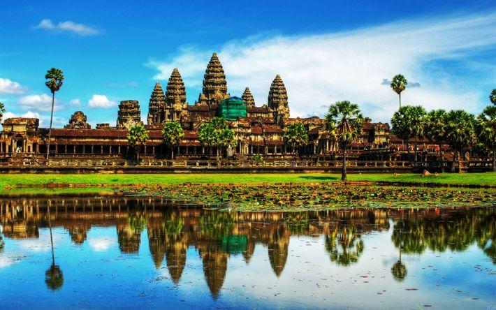 壁紙をダウンロードする アンコールワット, ヒンドゥー教の寺, 4k, 古寺, ヴィシュヌ神, ヒンドゥー教, カンボジア