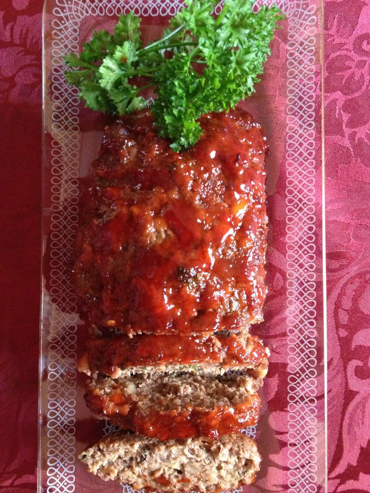 The old classic meatloaf. Recipe- bread, milk,eggs, pepper and salt, groundbeef, parsley, onion and garlic- for the glazzed, ketsup and brownsugar-