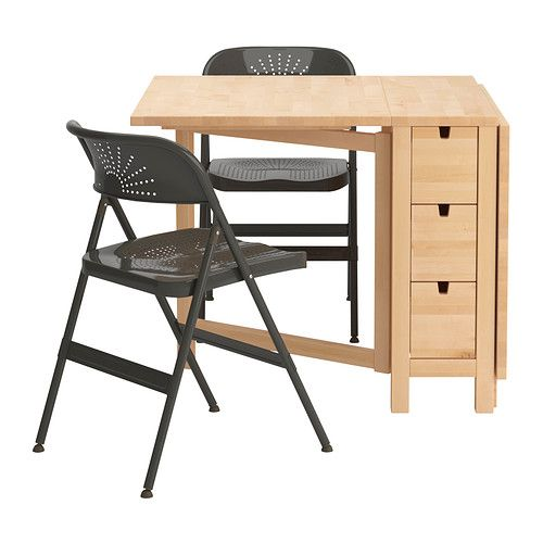NORDEN / FRODE Table and 2 chairs IKEA Table with drop-leaves seats 2-4; makes it possible to adjust the table size according to need.
