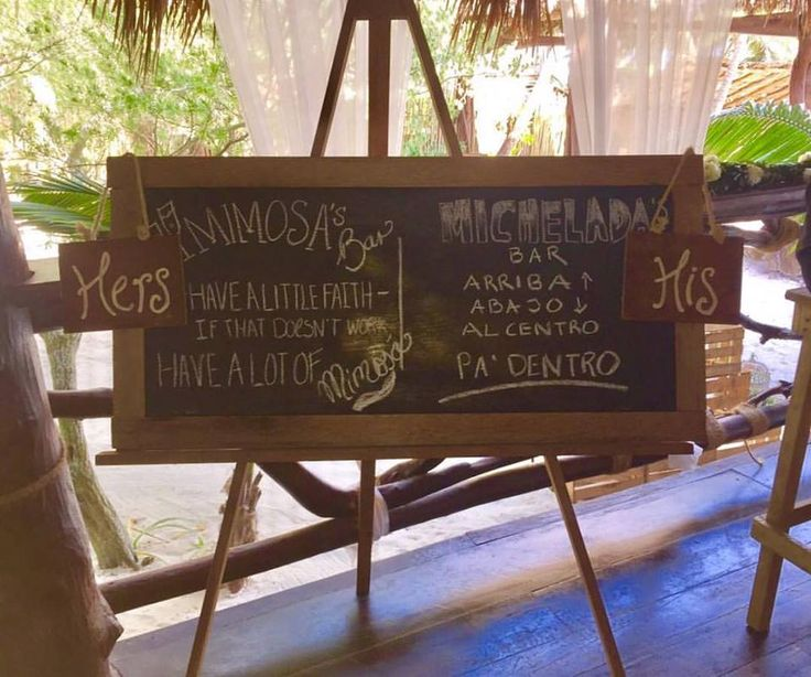CBS120 Weddings Riviera Maya chalkboard and easel with customized important wedding info,/ pizarrón con caballete