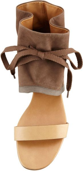 ankele cuff nude sandal | ... by chloe brown ruched anklecuff flat sandal khaki see by chloe sandal
