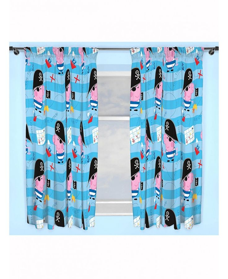 These Peppa Pig George Pirate curtains make the perfect addition to any George themed bedroom. The design features a nautical theme with Pirate George in a repeat design on a blue striped background patterned with treasure islands, ships and maps. Each curtain has a pencil pleat fitting making them easy to attach to any curtain rail or pole.