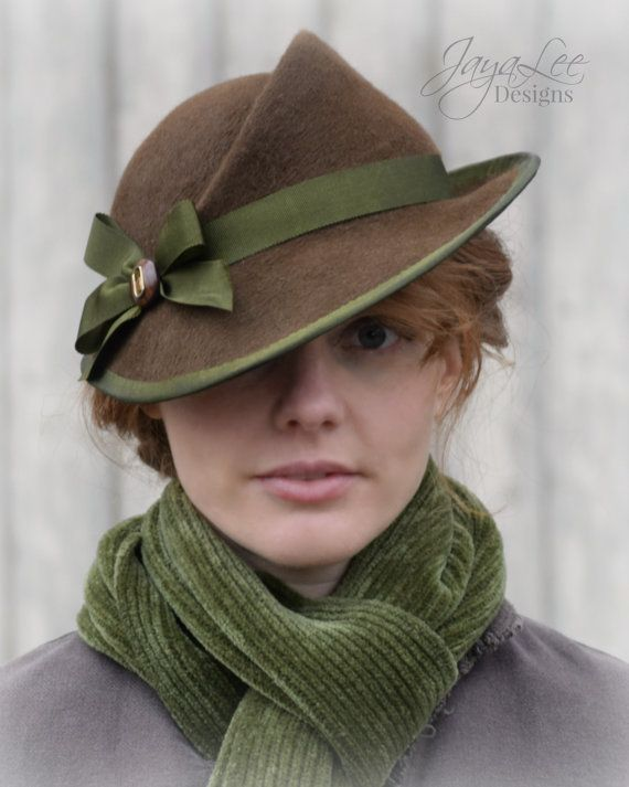 1930's Style Tilt Hat in Rustic Brown and Green by Jaya Lee