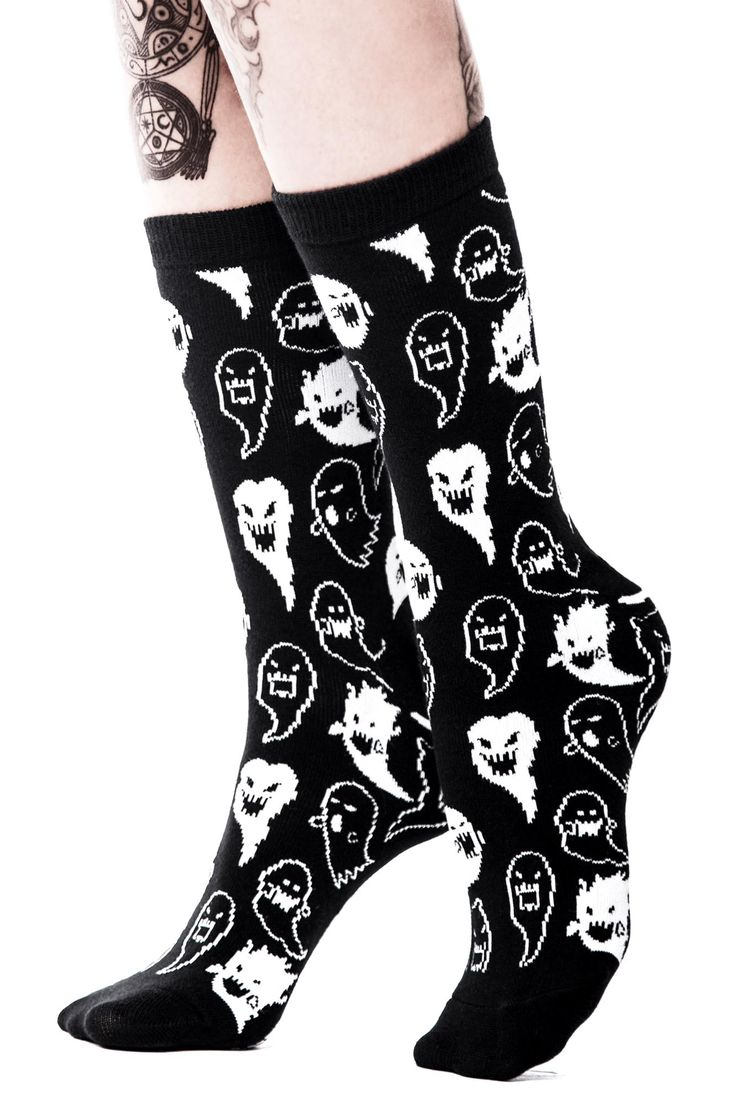 Spooky Ankle Sock. 'Who You Callin' a Ghost?' cute socks with repeating motif. Keepin' it kawaii till ya die