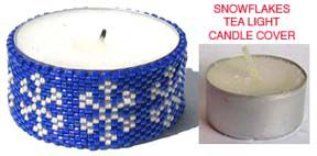 Personalized Photo Charms Compatible with Pandora Bracelets. SNOWFLAKES BEADED TEA LIGHT CANDLE COVER
