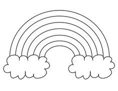 Extra Large Rainbow Template With Clouds Blank Ready To Color Rainbow Pattern Printable Templates Printable Kids Rainbow Pattern
