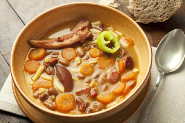 This recipe for Hungarian bean soup (bab leves) can be made with a meaty ham bone or ham hock.