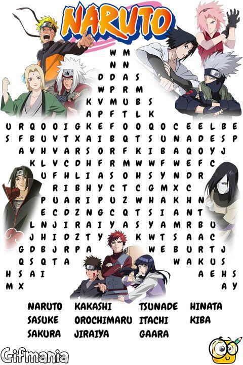 Encuentra a los personajes de Naruto Shippuden en esta sopa de letras. #naruto #narutoshippuden #sopadeletras #pasatiempos