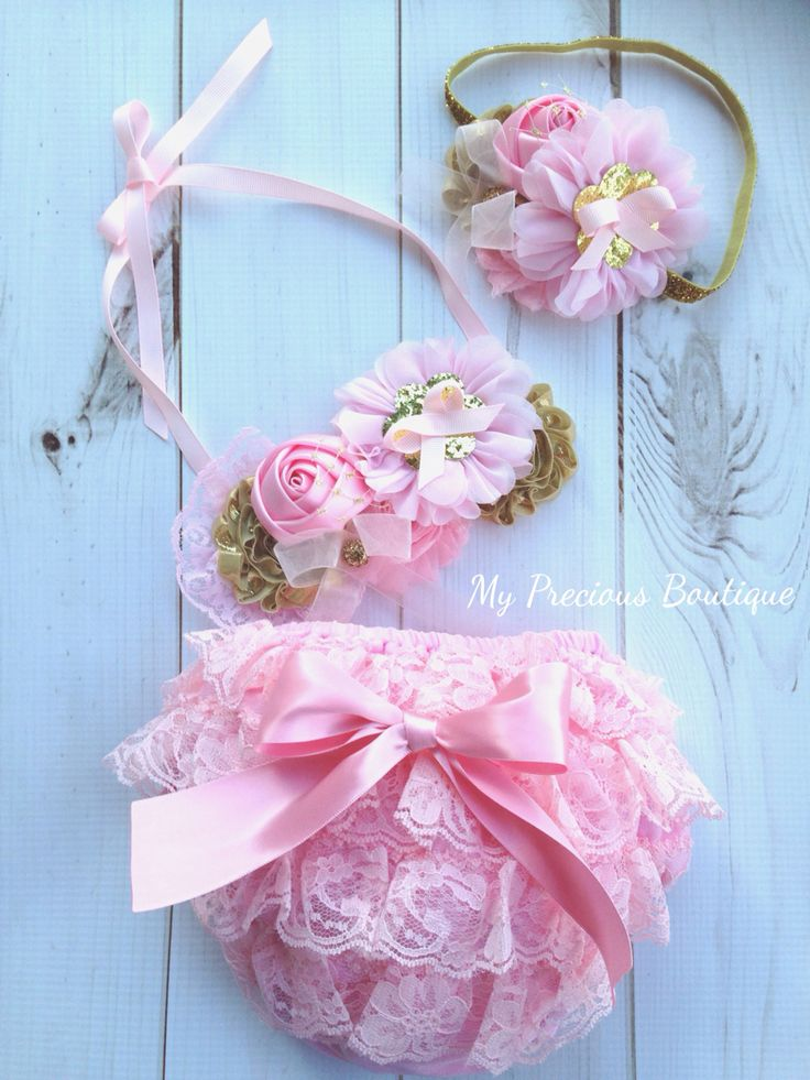 Pink and gold cake smash outfit
