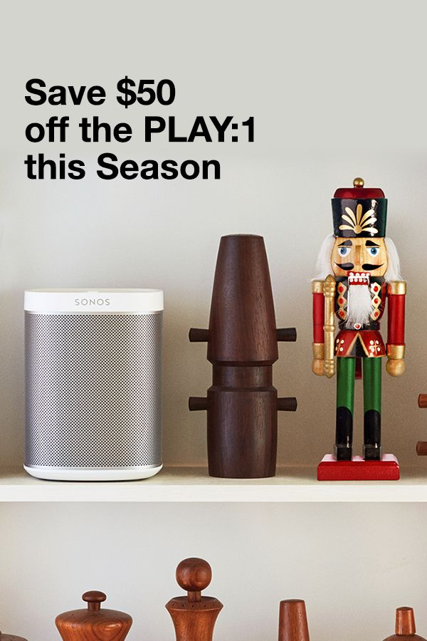Give the gift of pure, rich sound this holiday season with the SONOS Play:1, the mini home speaker that fits in any space and fills any room. Buy the SONOS Play:1 this holiday season and save $50.