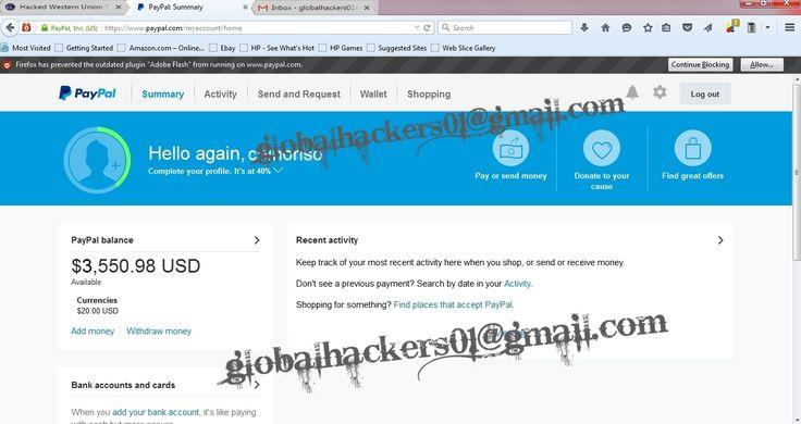 GET PAYPAL transfer,WESTERN UNION transfer, BANK TRANSFER, MONEYGRAM TRANSFER/LOGINS, CCTOP UP visit www.globalhackers.ru