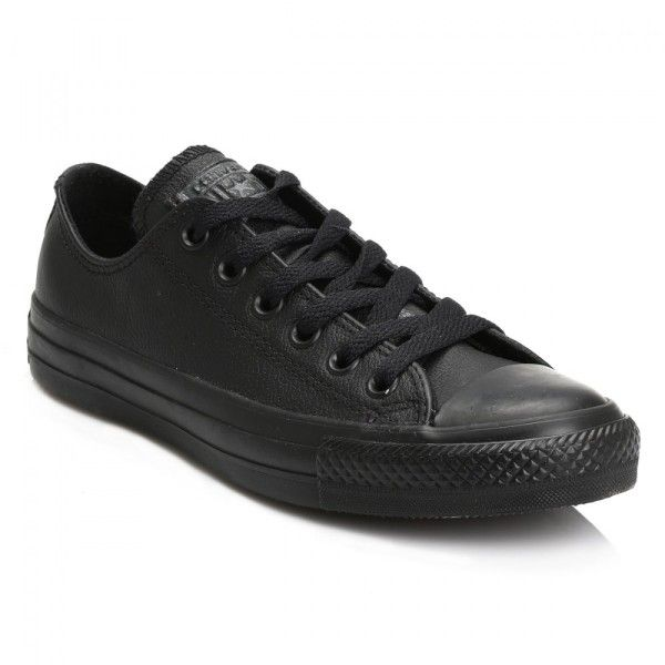 Black All Star OX Leather Trainers ($67) ❤ liked on Polyvore featuring shoes, sneakers, converse sneakers, black shoes, black trainers, leather shoes and black leather trainers