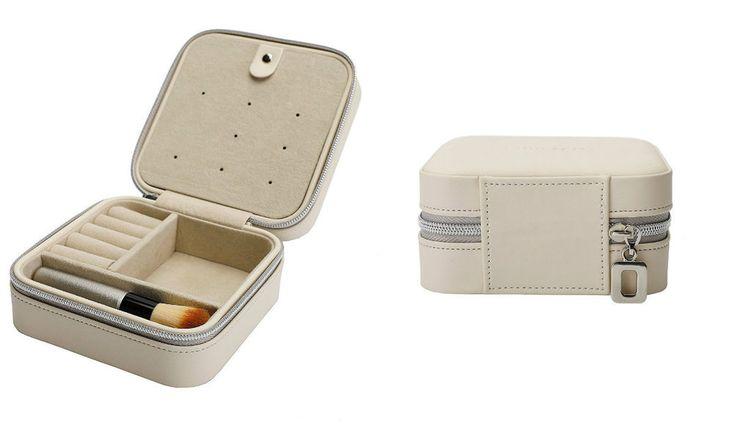 Small Jewelry Box Travel Case Organizer Zippered Leather 5 Mini Brush Set Beige #TravelJewelryBoxesOrganizers