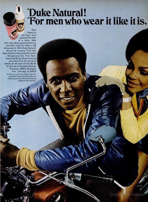 Duke advertisement from Ebony magazine, March 1970.   Model: Richard Roundtree