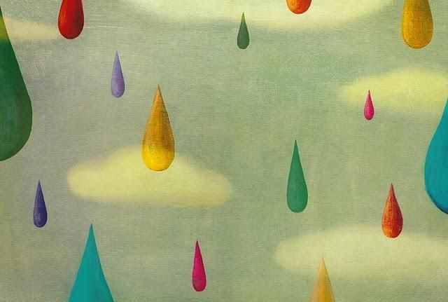 Colour Rain by Rebeca Luciani: Cloudy Rainy, Colour Rain, Drop, Cloud Rain Bows, Foster Illustrations, Pluja Rebeca Luciani, Ilustracion Lluvia, Artsy Art, De Colors