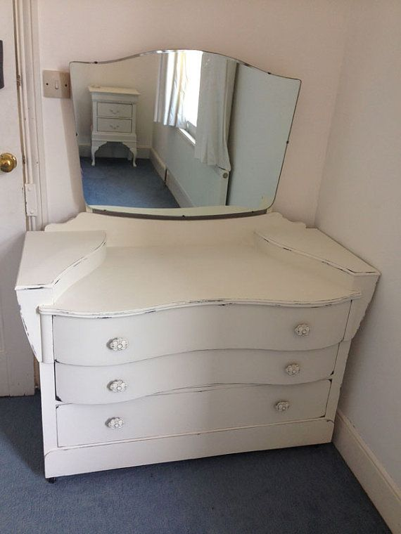 Vintage Dressing Table With Mirror In Annie Sloan Old White £150