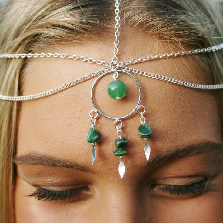 Boho gypsy Jade crown perfect for festivals, prom, weddings