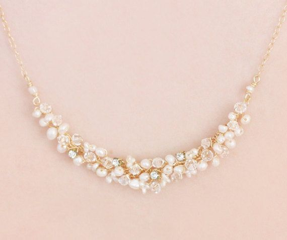 Delicate Bridal Freshwater Pearl Swarovski Crystal and