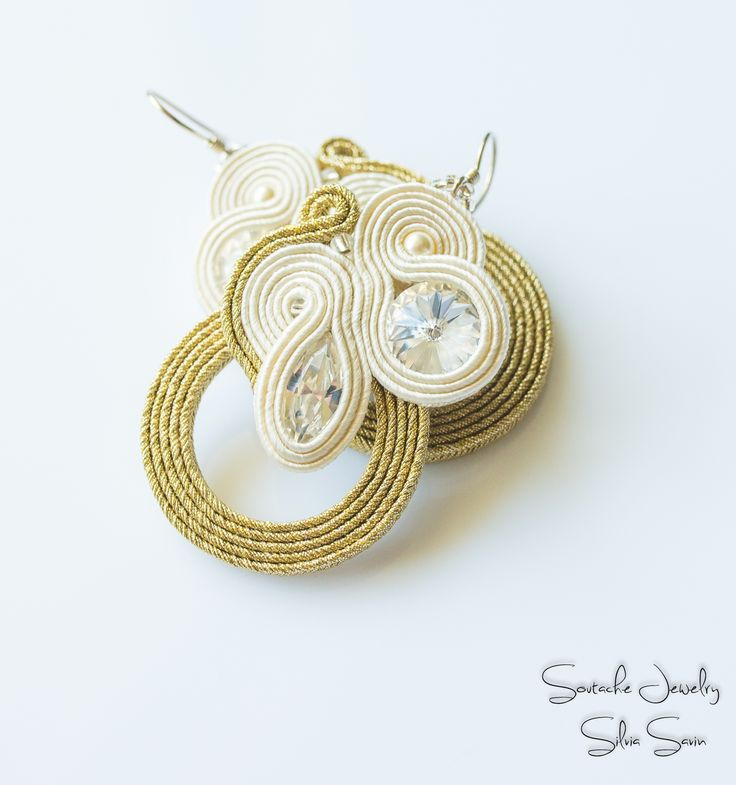 Bridal soutache earrings with Swarovski elements