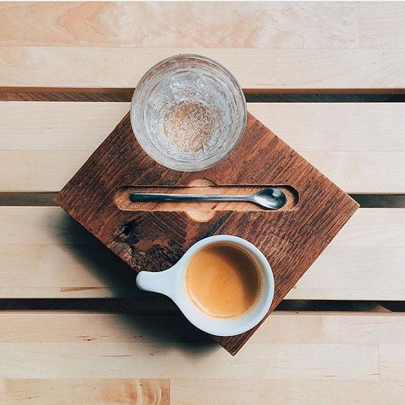 This is a reclaimed red pine espresso serving board, made to be served with an espresso spoon, cup, and seltzer water. Add a great look when serving