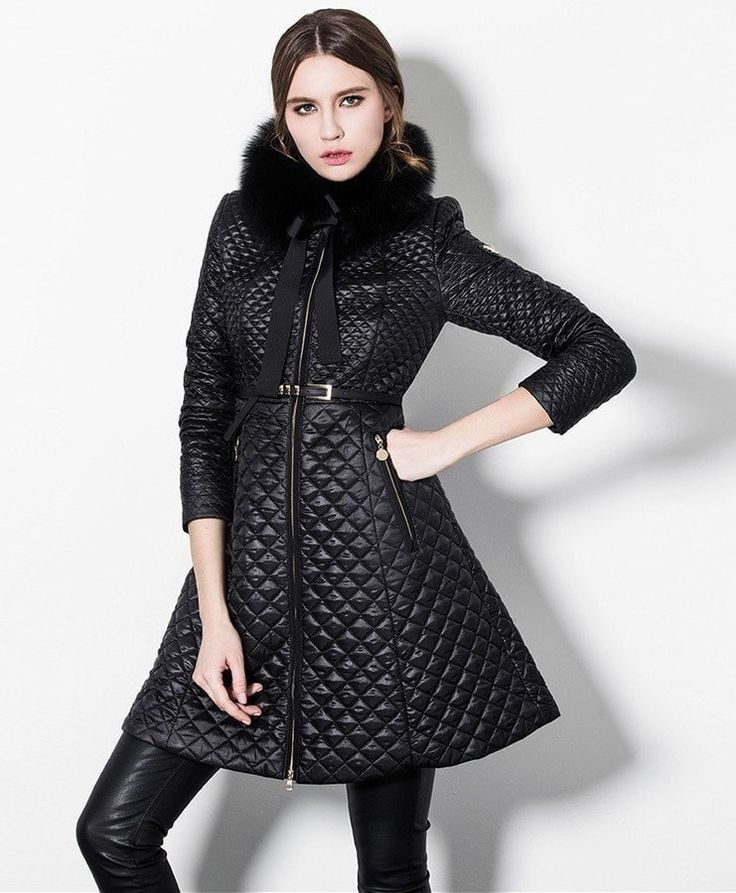 Designer Fashion Diamond Quilted Lightweight Belted Fur Trim Coat S-2XL 3 Colors