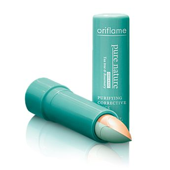 Oriflame Pure Nature Organic Tea Tree & Rosemary Purifying Corrective Stick (21351) - Smart stick with pure organic tea tree and rosemary oil hides and helps dry out imperfections. First tone down redness with green shade. Then conceal with beige shade. 4 g.