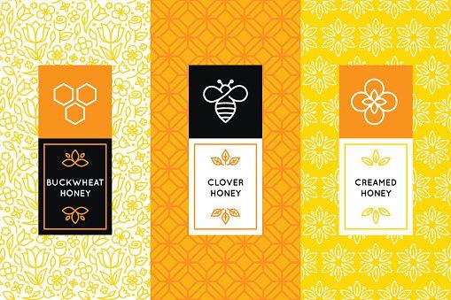 Vector Art : Vector logo and packaging design templates in trendy