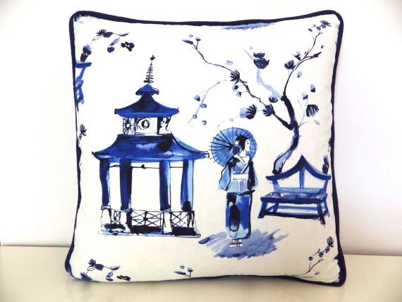 "Asian Pillow, 16"" Blue and White Pillow Cover, Pagoda Gardens Pillow Cover, Japanese Pillow, Asian Decor, Blue Pillows"