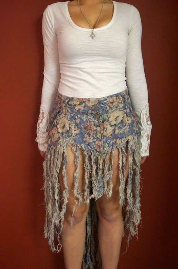 Sz 10 Rare Vtg OOAK Cutoff Distressed Fringe Maxi Skirt by ...
