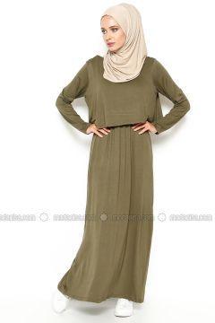 Beli Büzgülü Elbise - Haki - Eflatun #modasto #giyim #moda https://modasto.com/eflatun/kadin/br5100ct2