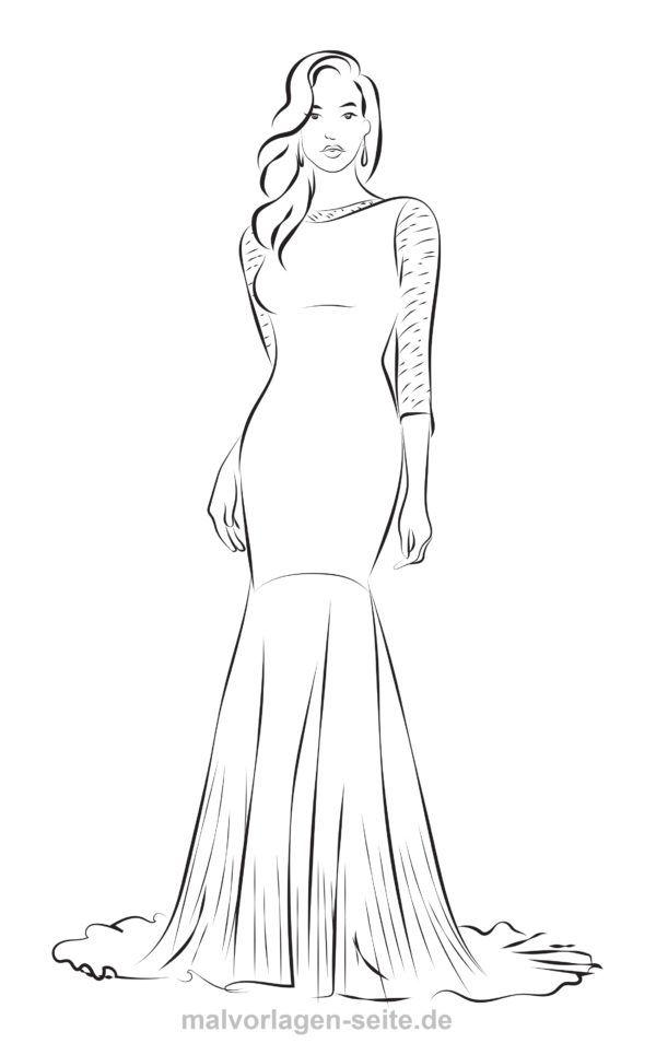 Malvorlage Mode Model Im Abendkleid Kleiderskizze Malvorlagen Madchen Malen