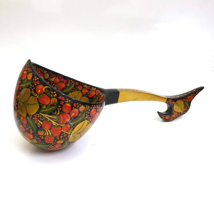 Russian Wooden Ladle Khokhloma Hand painted #23