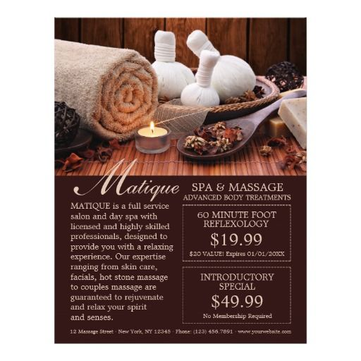 spa salon menu of services flyer with coupons flyer templates