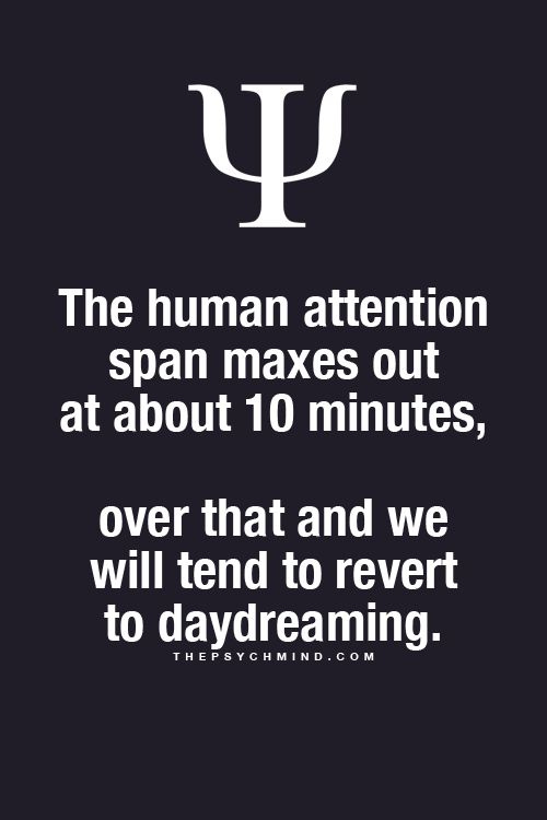 Fun Psychology facts here! ... a class period is 50 minutes long...and they wonder why we don't remember everything